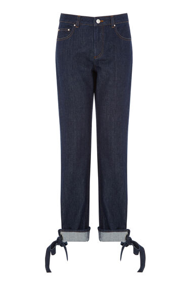 Warehouse, Fold Up Jeans Dark Wash Denim 0