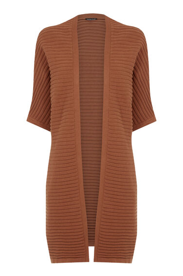 Warehouse, RIBBED COCOON CARDI Tan 0