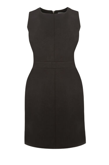 Warehouse, Faux Leather Fit Flare Dress Black 0