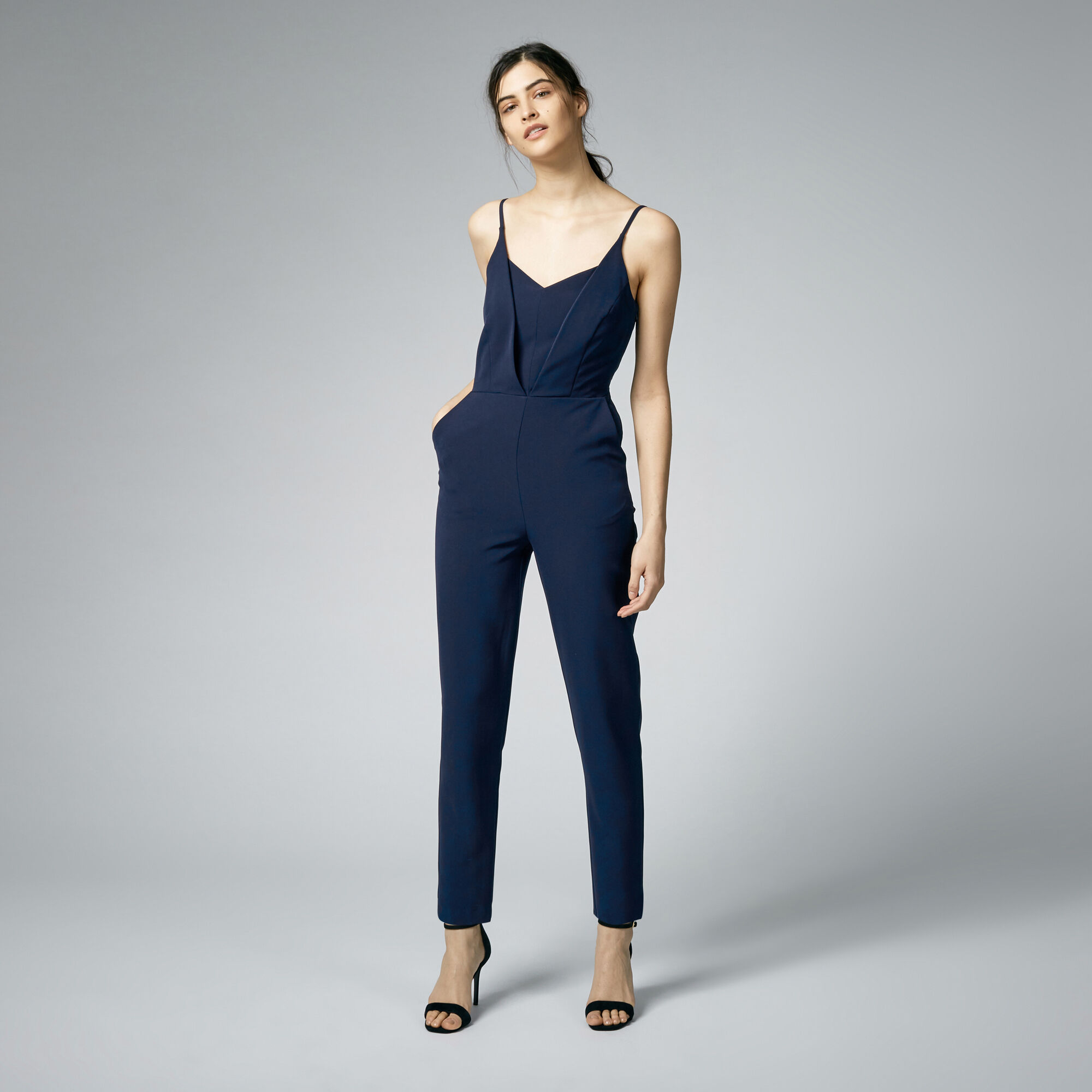 Warehouse, PLUNGE NECK JUMPSUIT Navy 1