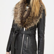 Warehouse, Faux Leather Belted Jacket Black 4