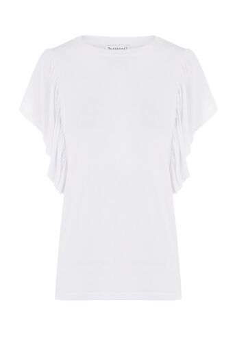 Warehouse, EXAGGERATED FRILL SLEEVE TEE White 0