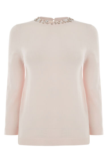 Warehouse, EMBELLISHED NECK COLLAR JUMPER Light Pink 0