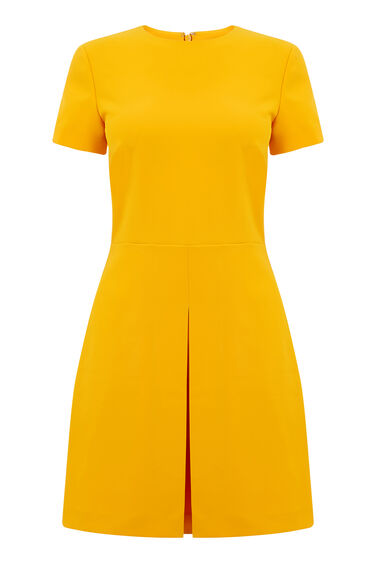 Warehouse, BOX PLEAT DRESS Yellow 0