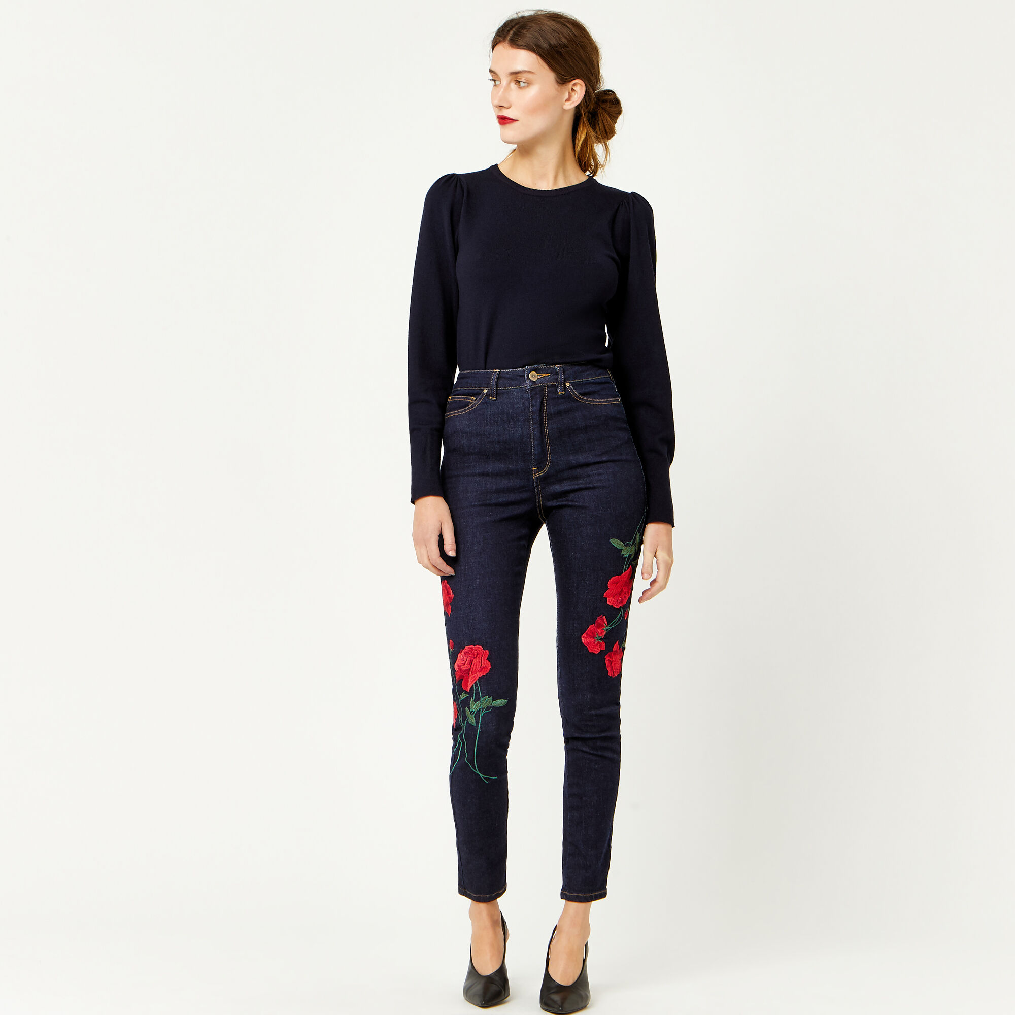 Warehouse, RED EMBROIDERED SKINNY JEANS Dark Wash Denim 1