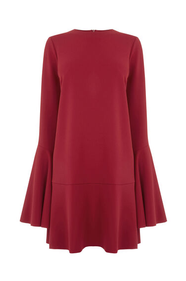 Warehouse, FLUTE SLEEVE DRESS Dark Red 0