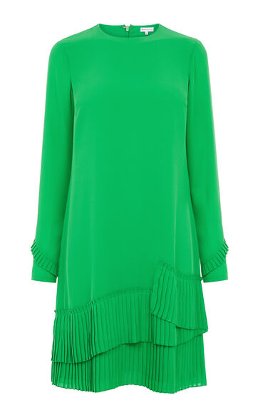 Warehouse, PLEATED HEM SHIFT DRESS Bright Green 0