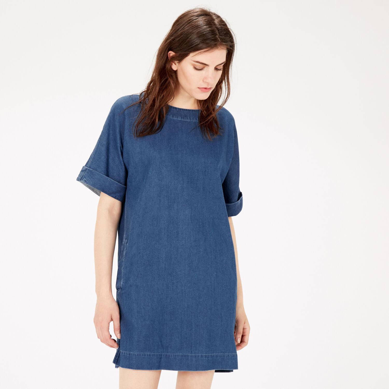 Warehouse, Denim Shift Dress Mid Wash Denim 1