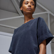 Warehouse, Cord Relaxed Shift Dress Navy 4