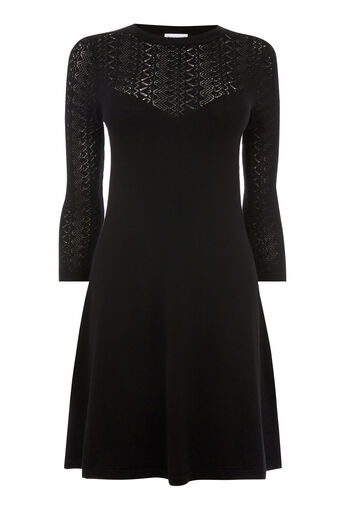 Warehouse, PRETTY STITCH YOKE KNIT DRESS Black 0