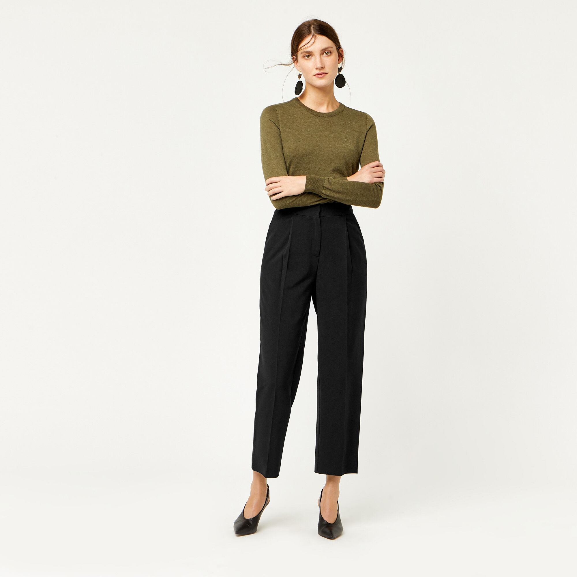 Warehouse, PLAIN PEG TROUSER Black 1