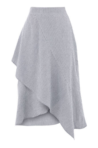 Warehouse, STRIPE RUFFLE SKIRT Grey Stripe 0