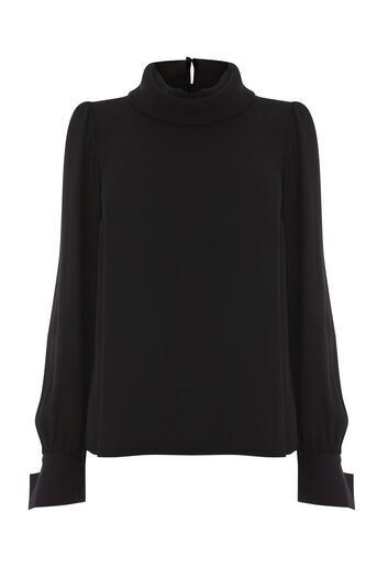 Warehouse, COWL DRAPE TOP Black 0