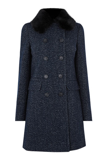 Warehouse, Swing Faux Fur Collar Coat Navy 0