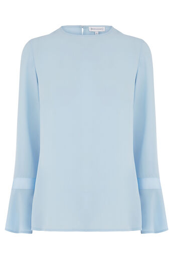 Warehouse, GROSGRAIN FLARED CUFF TOP Light Blue 0