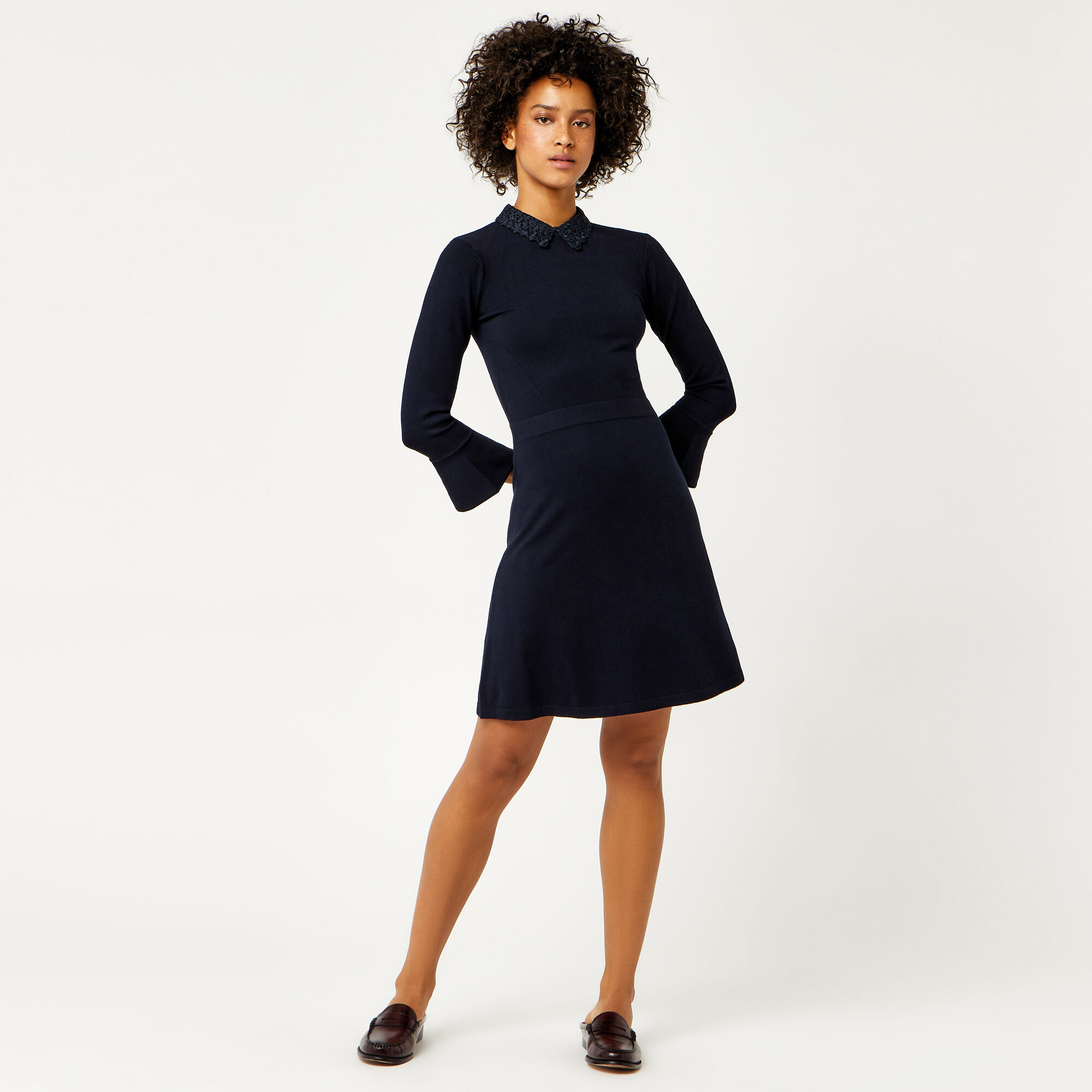 Warehouse, LACE COLLAR FLARE CUFF DRESS Navy 1