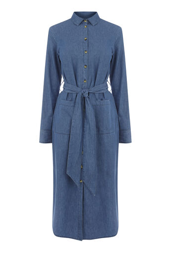 Warehouse, DENIM SHIRT MIDI DRESS Mid Wash Denim 0