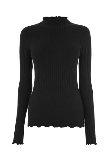Warehouse, LONG SLEEVE RIB POLO TOP Black 0