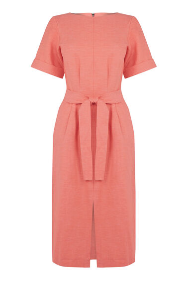 Warehouse, LINEN MIX BELTED DRESS Coral 0