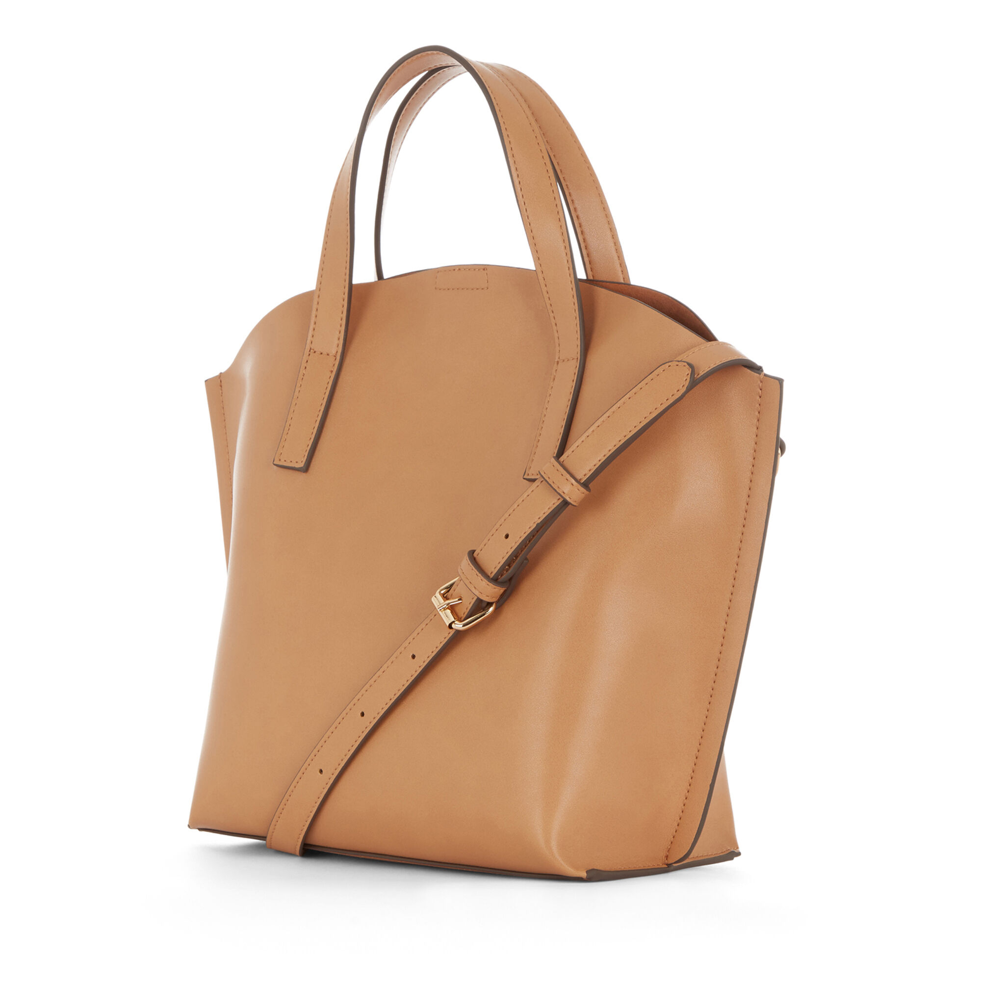 Warehouse, CURVE TOP TOTE BAG Camel 1