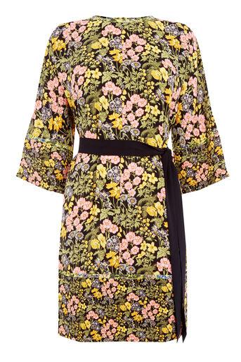 Warehouse, GARDEN POSY SHIFT DRESS Black Pattern 0