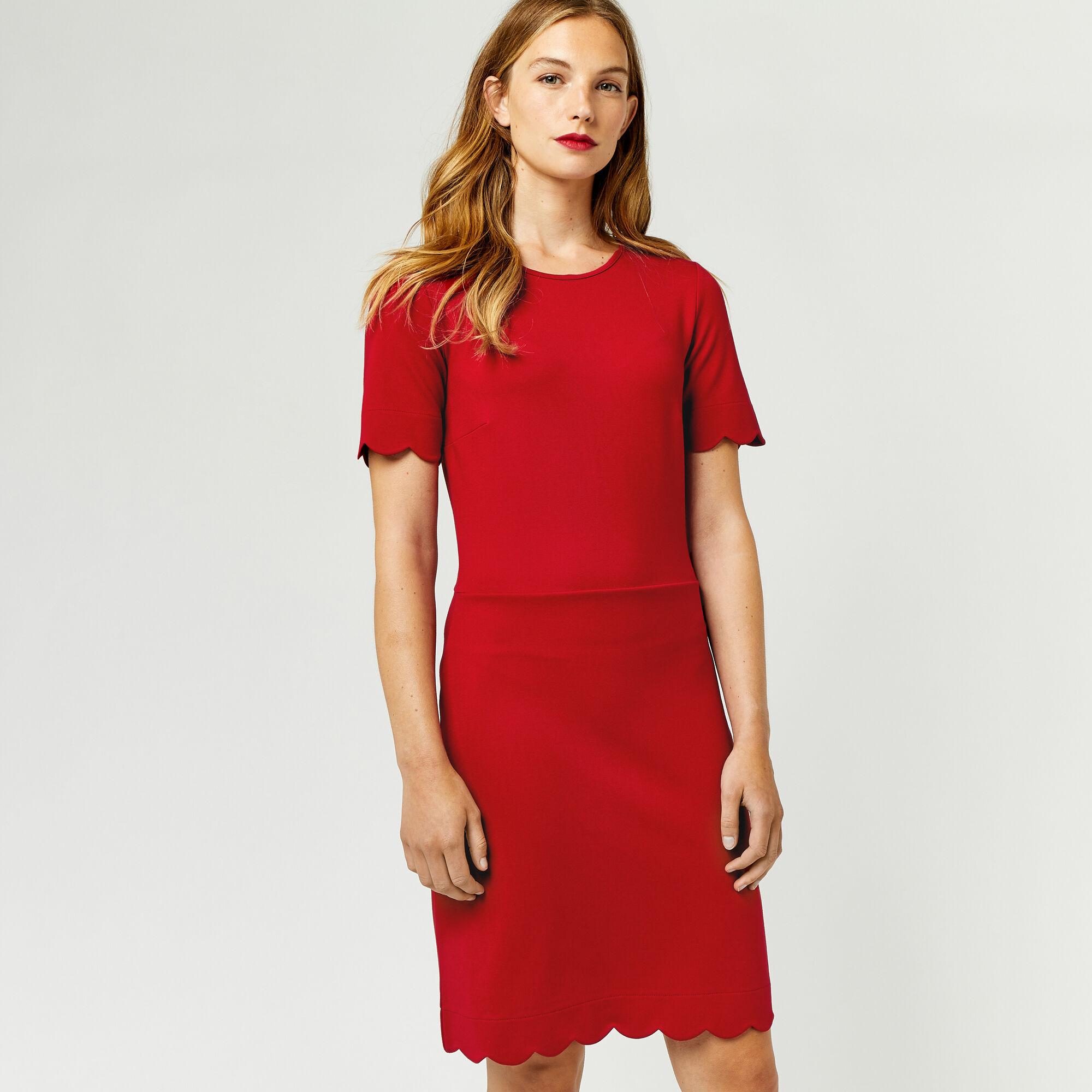Warehouse, SCALLOP PONTE DRESS Dark Red 1