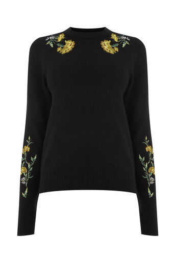 Warehouse, COSY FLORAL EMBROIDERED JUMPER Black 0