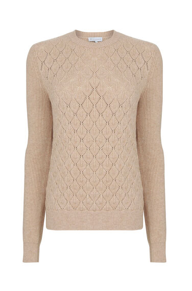 Warehouse, DIAMOND STITCH CREW JUMPER Stone 0