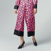 Warehouse, POPPY PRINT SILK TROUSER Pink Pattern 1