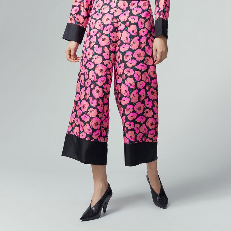 Warehouse, POPPY PRINT SILK TROUSER Pink Pattern 1
