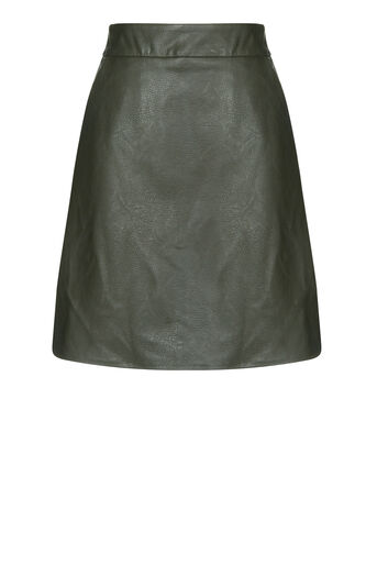 Warehouse, Faux Leather Pelmet Skirt Khaki 0