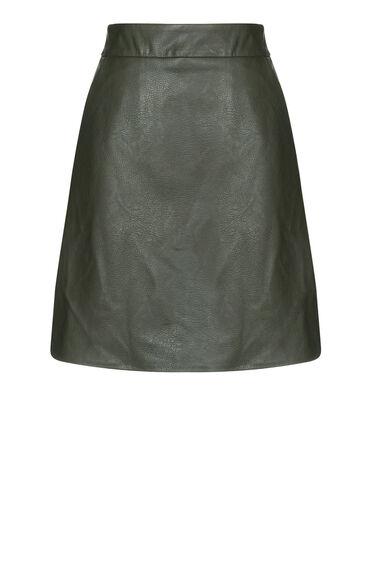 Warehouse, Faux Leather Pelmet Skirt Khaki 0
