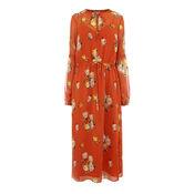 Warehouse, VICTORIA FLORAL CHIFFON DRESS Orange 0
