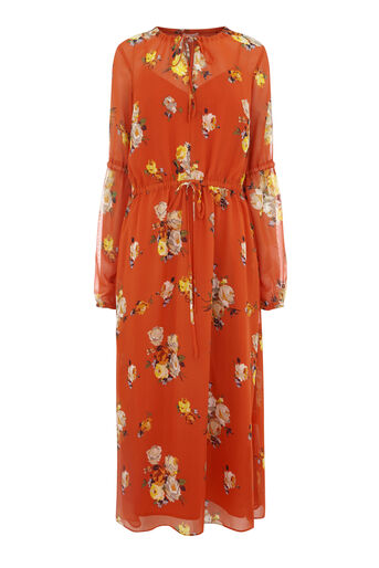 Warehouse, VICTORIA FLORAL CHIFFON DRESS Orange 0