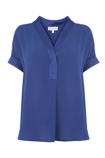 Warehouse, SATIN MIX BLOUSE Bright Blue 0