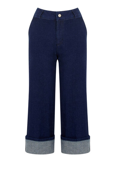 Warehouse, Wide Leg Crop Jean Indigo Denim 0