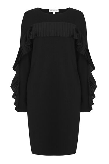 Warehouse, FRILL SWEAT DRESS Black 0