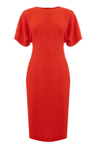 Warehouse, CREPE MIDI DRESS Bright Red 0