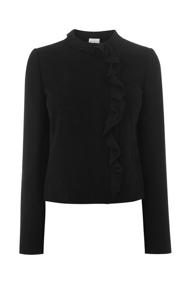 Warehouse, FRILL COLLAR JACKET Black 0
