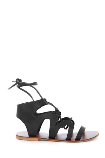 Warehouse, LEATHER GLADIATOR SANDAL Black 0