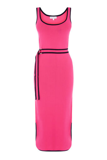 Warehouse, STRIPE TRIM BELTED KNIT DRESS Bright Pink 0