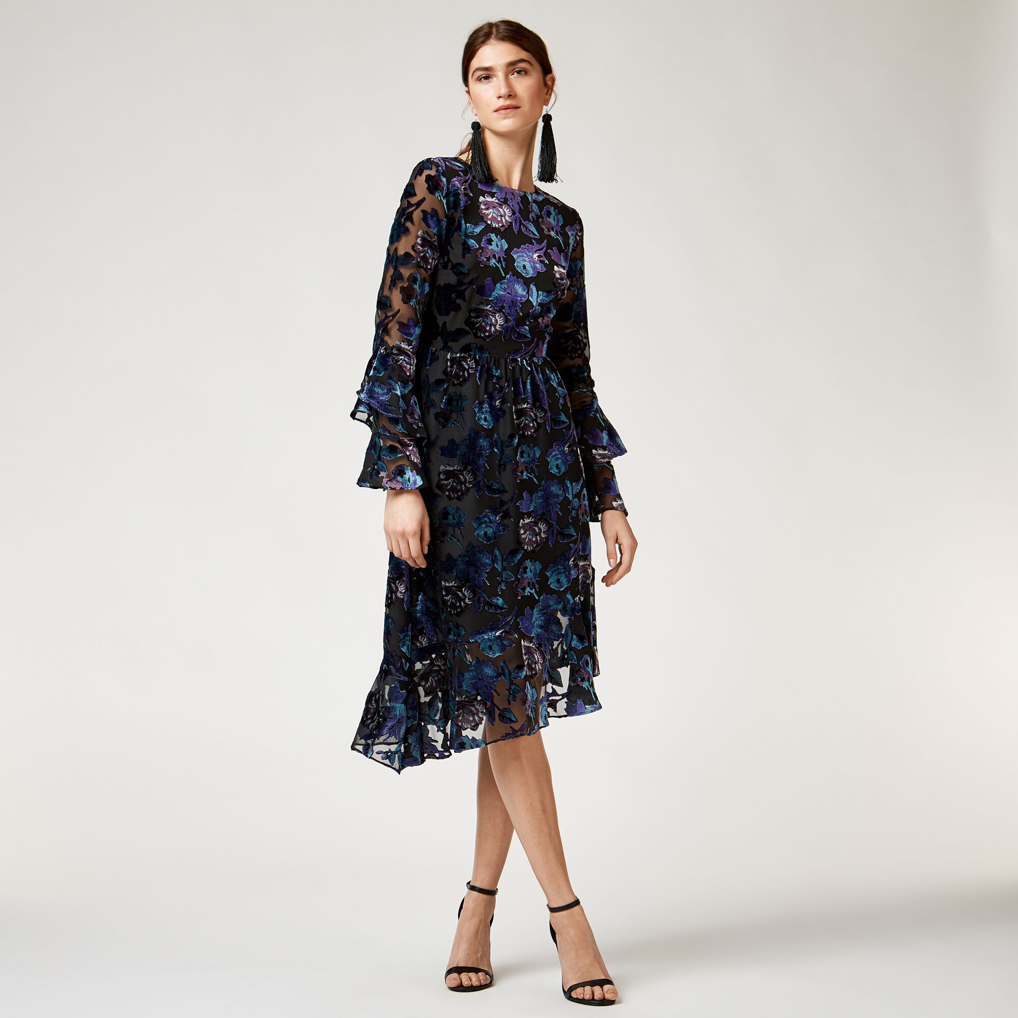 Warehouse, FLORAL DEVORE DRESS Multi 1
