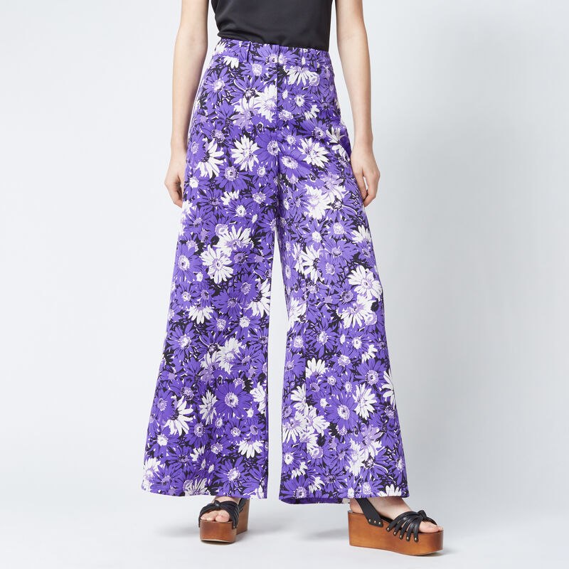 Warehouse, ASTER FLORAL TROUSERS Purple Pattern 1