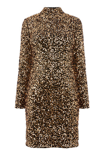 Warehouse, VELVET SEQUIN HIGH NECK DRESS Gold Colour 0