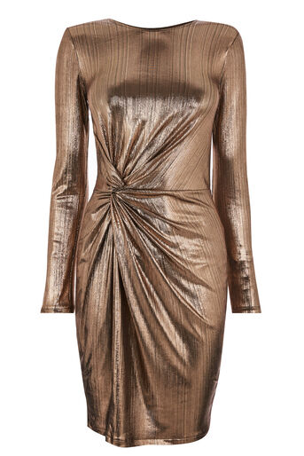 Warehouse, METALLIC KNOT MINI DRESS Bronze Colour 0