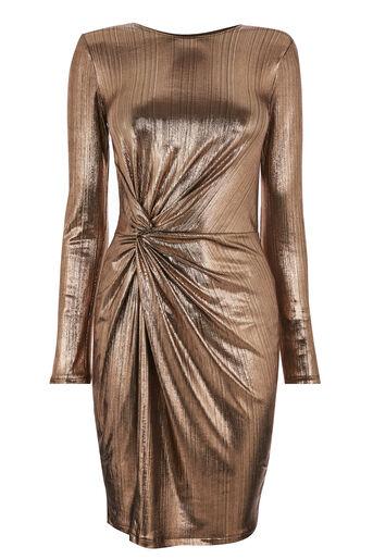 Warehouse, Metallic geknoopte korte jurk Bronskleurig 0