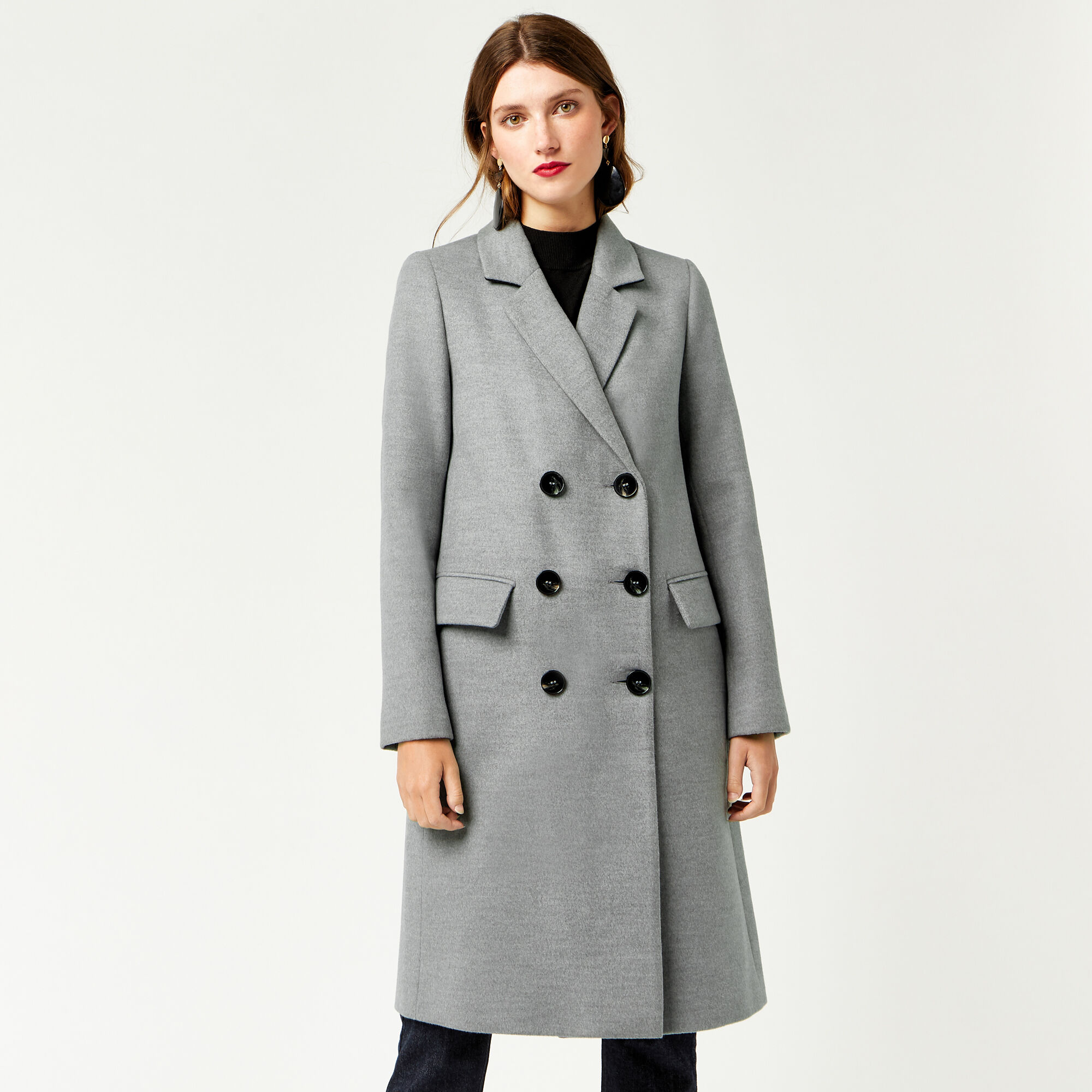 Warehouse, DOUBLE BREASTED CROMBIE COAT Light Grey 1