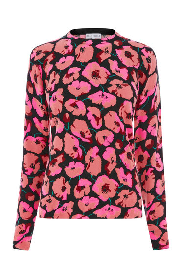 Warehouse, POPPY PRINT JUMPER Black 0