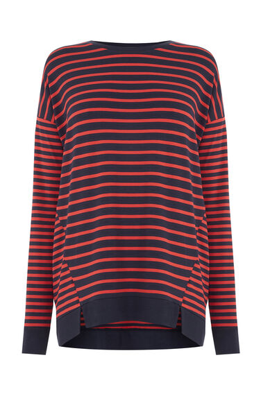 Warehouse, RIB HEM STRIPE TOP Red Stripe 0