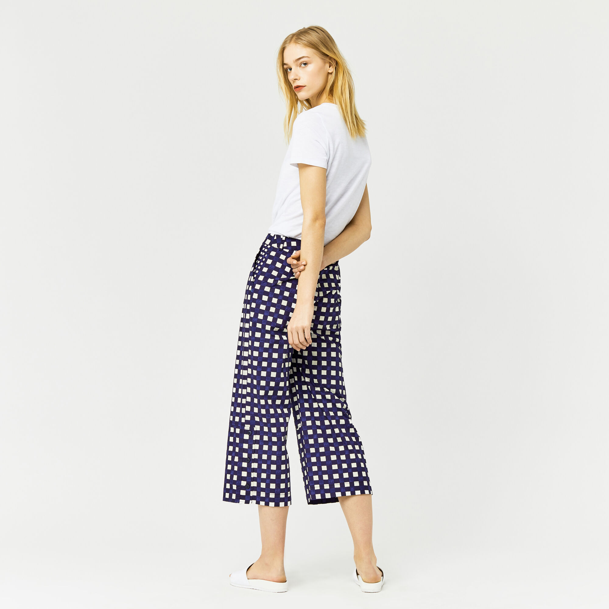Warehouse, CROPPED GINGHAM TROUSER Multi 1